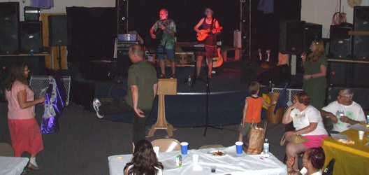 "Cece and Me leading Worship at the ""Gathering"" at the Nite Light Cafe"